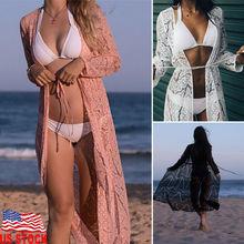 Women Summer Lace Floral Bikini Cover Up Loose Shawl Vintage Kimono Cardigan Elegant Long Sleeve Bathing Beach Long Dress