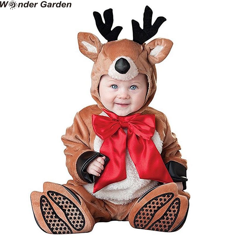 Wonder Garden Toddlers Infant Baby Deer Elk Halloween Party Cosplay Costumes Christmas Purim Holiday Jumpsuit недорого