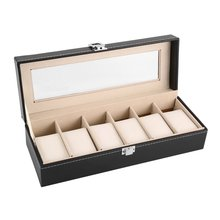 New Black Leather Leather Watches Box Case Jewelry Display Boxes Storage Holder For House 6 Slots Wo