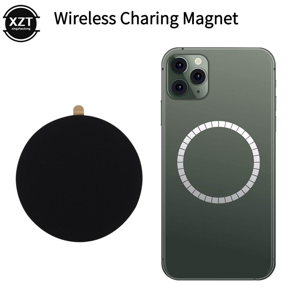 Магнитный стикер для беспроводной зарядки, магнитный для iPhone 12 Pro, задний Чехол, металлическая пластина, диск, железный лист, автомобильный держатель для телефона, зарядное устройство