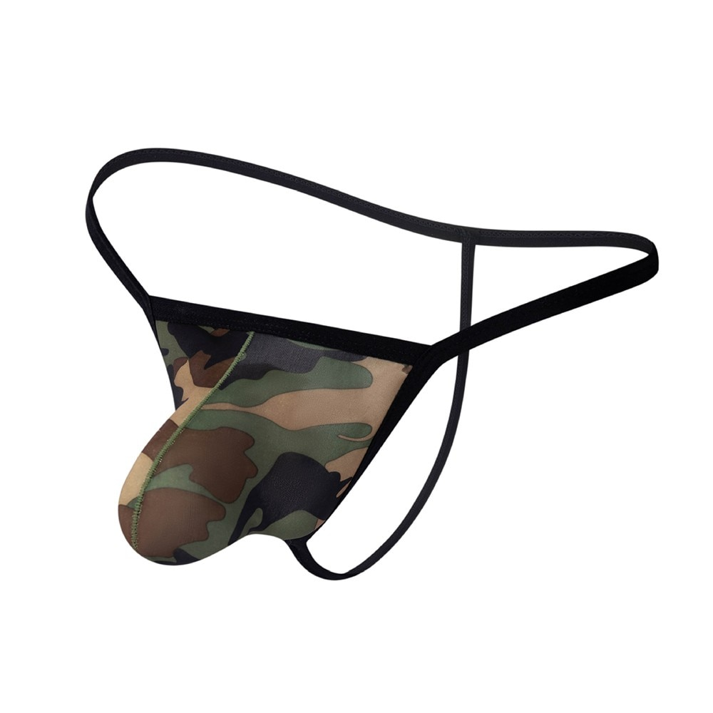 Mens Sexy Nylon Camouflage U-Convex Backless Thong Brief Underpants Thin Thong Low-waisted Sexy Lingerie Exotic Sex Underwear low waisted floral thong bikini