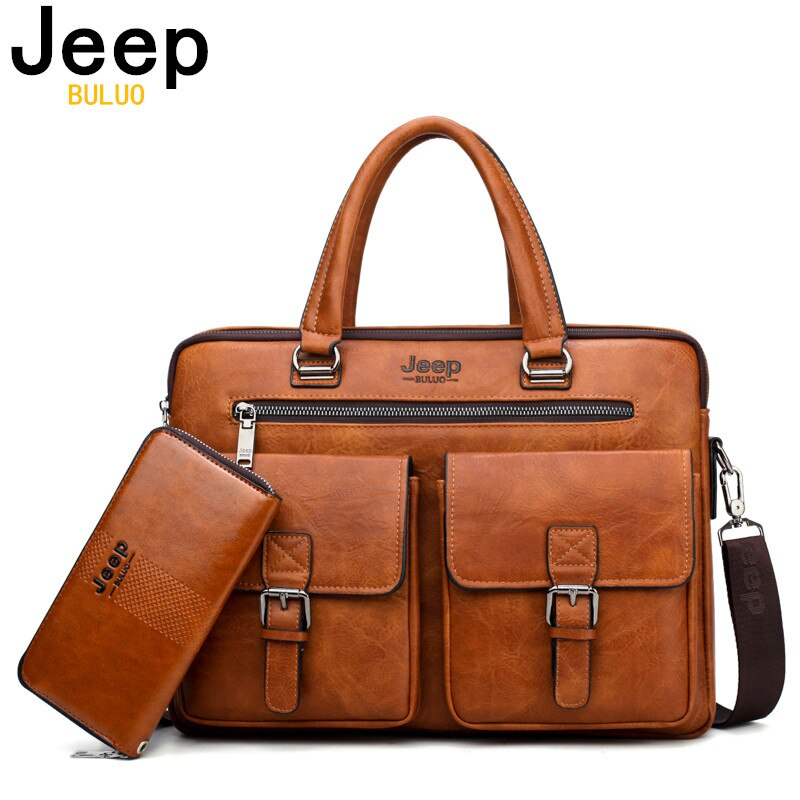 JEEP BULUO Brand Man'sBusiness Briefcase Bag 2pcs/set Split Leather High Quality Men office Bags For