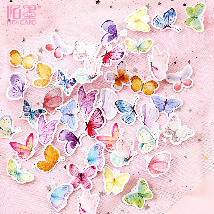 Mohamm 46 Pcs Boxed Stickers Butterfly Garden Hand Account Notes Decoration DIY Stickers General Sealing Stickers