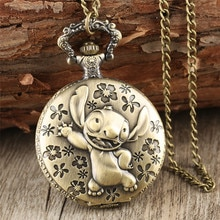 Brozne Cute Pocket Watch for Children Pendant Necklace Chain Quartz Pocket Clock Gifts for Boys Girl