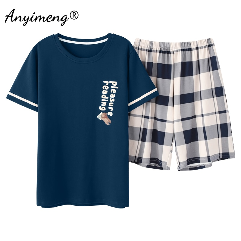Mens Lounge Wear 2021 Summer New Pajamas for Man Big Shorts Two Pieces Navy Letter Printing Pullover Leisure Sleep Wear Men Pjs