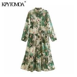 Vintage à moda impressão floral botões chiffon midi vestido feminino 2020 moda o pescoço manga longa vestidos femininos chiffon mujer