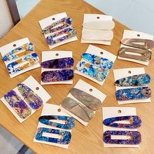 2 unids/set de horquillas acrílicas con estampado colorido para mujer, horquillas geométricas elegantes, pinzas para el pelo, diadema, pasadores, accesorios para el cabello de moda