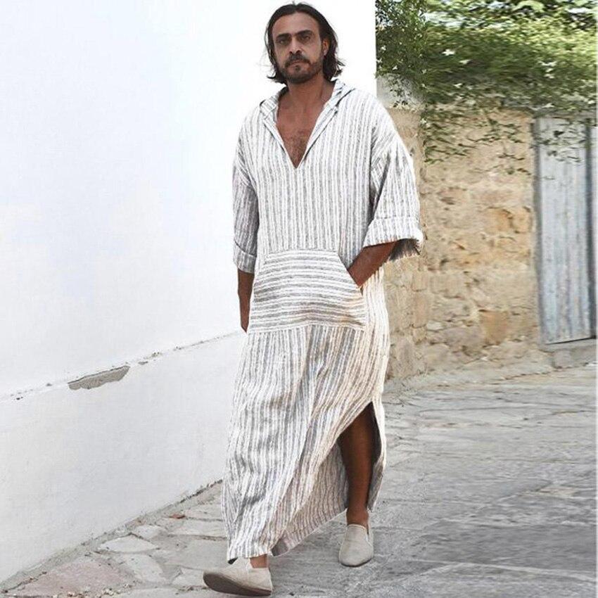 Jubba Thobe musulmán de Arabia Saudita con capucha a rayas cuello pico de lino transpirable Vestido largo de la camisa islámica ropa de hombres trajes Casuales