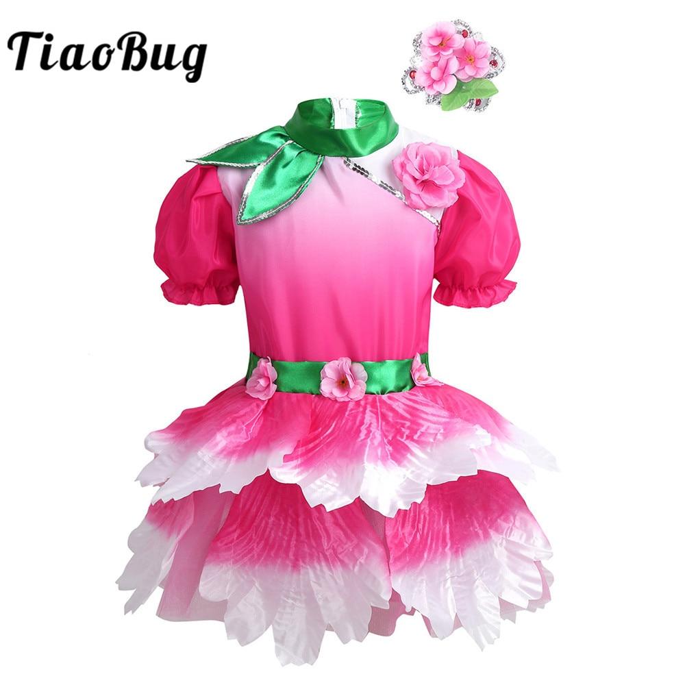 TiaoBug Kids Puff Sleeves 3D Flower Leotard Girls Ballet Tutu Dress with Headwear Modern Stage Performance Jazz Dance Costume