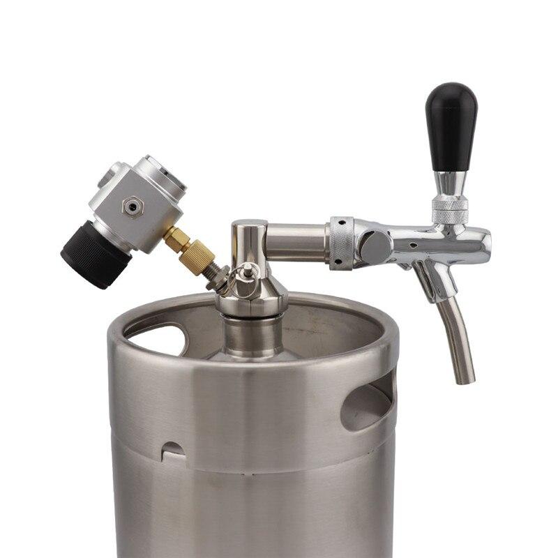 Acero inoxidable cerveza Growler lanza con CO2 Kit de cargador y Ajustable de grifo para 2L 3.6L 5L barril de cerveza accesorios