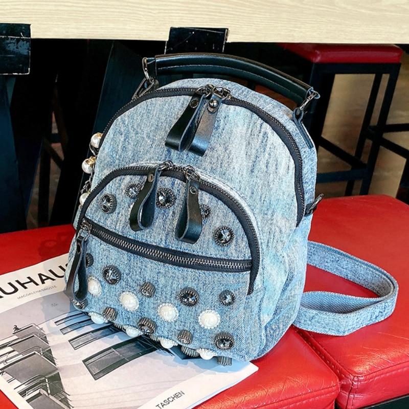 Denim Women's Backpack Pearl Rivet Shoulder Bags for Women Multifunctional Mochilas Para Mujer New Brand Designer Sacs A Dos