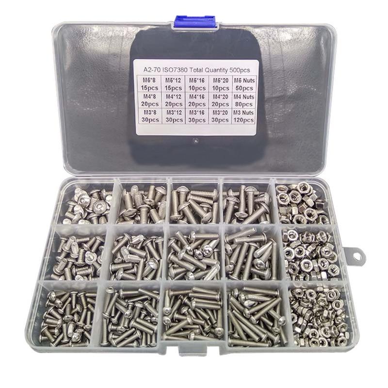 M2 M3 M4 M5 M6 Hex Button Socket Head Cap Screw Nut Hexagon Metric Thread Machine Bolt Assortment Ki
