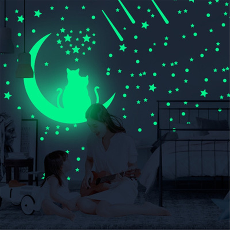 100pcs set fluorescent stars glow in the dark toys for children s bedroom decoration baby kids glow pentagram adhesive stickers 100Pcs Glow In The Dark Stars Dot Wall Stickers  Baby Bedroom Luminous Stars Wall Decals For Kid Room Ceiling Fluorescent Decor