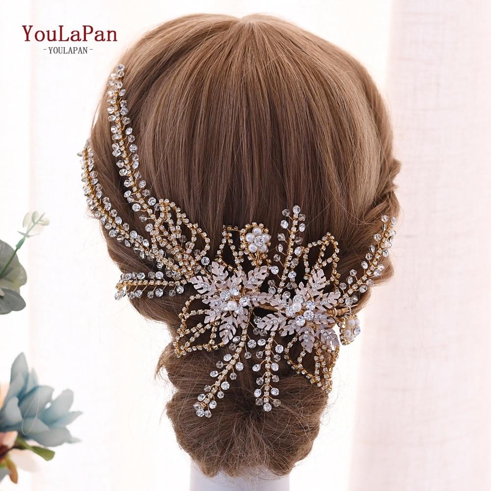 YouLaPan accesorios para el cabello de boda hecho a mano corona Diamante de imitación concurso gran boda diadema tocado de novia HP254-G