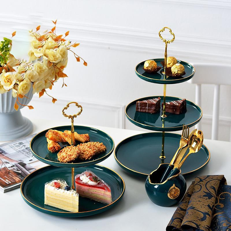 2/3-camada nordic malaquita verde sobremesa bandeja bolo suporte bandeja de frutas placa cerâmica bandejas de armazenamento de festa de casamento decoração bandeja de comida