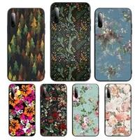 colorful floral leaves phone case for huawei p9 p10 p20 p30 p40 pro lite plus smart cover fundas coque