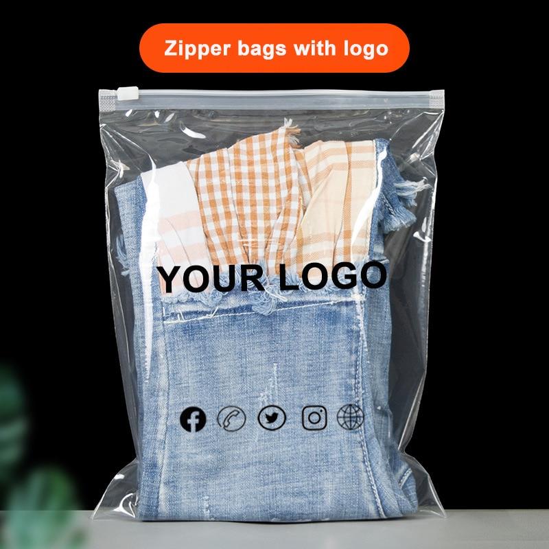 50PCS Custom Clear Zip Seal Ziplock Plastic Storage Bag Printed Logo For Travel Clothes Packag Trans Waterproof Shipping Bags
