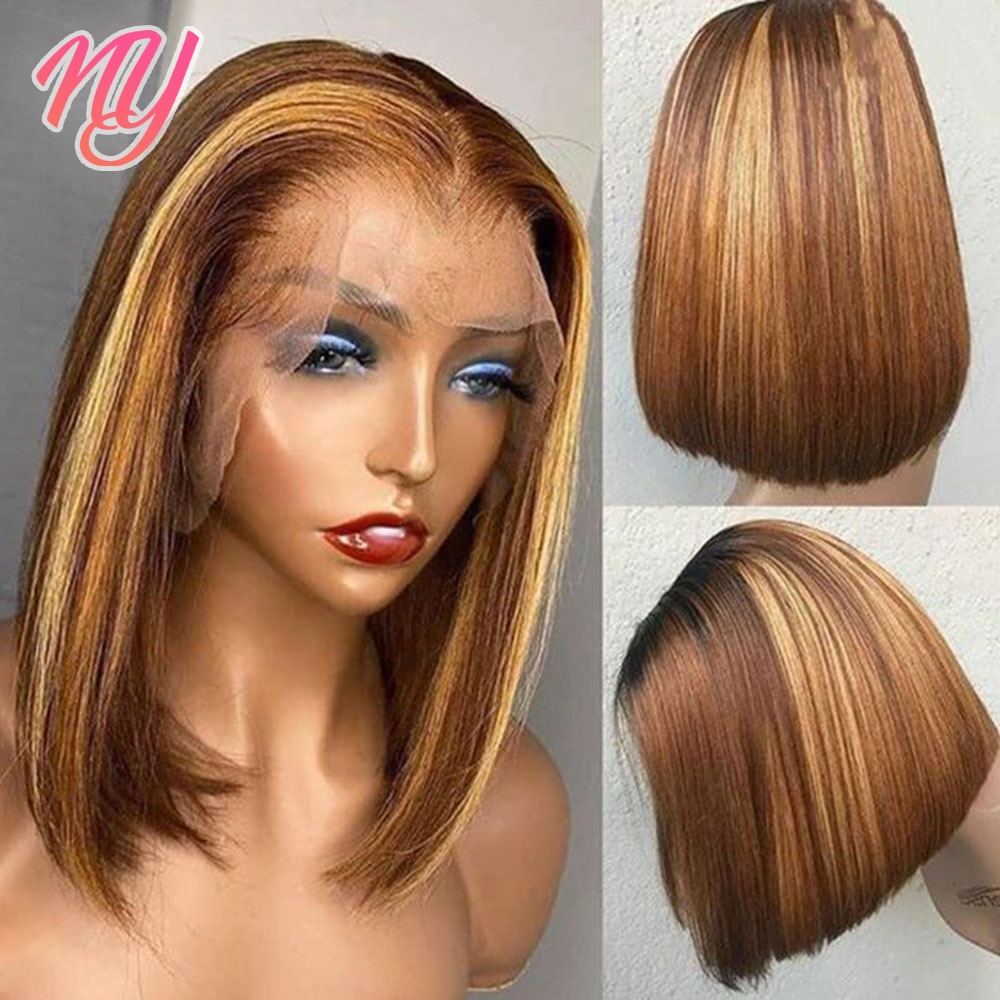 NY remy hair Bob wig in Natural color Human hair wig 180 density Straight honey blonde Lace frontal wig brown highlight wigs