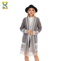cgyy womens colorful boho sweater blue grey color knitted open front autumn spring cardigan with fringe tassel and pockets