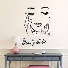 Weibliche Gesicht Vinyl Wand Aufkleber Schönheit Studio Tür Aufkleber Kosmetische Make-Up Wand Kunst Aufkleber Wandbild Abnehmbare Salon Dekoration A242