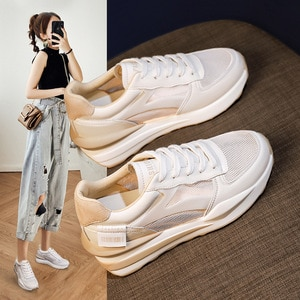 Women's Leather Casual Womens Shoes New Spring and Summer Thick-soled Inner Increase White Shoes Casual Breathable Mesh Sneakers