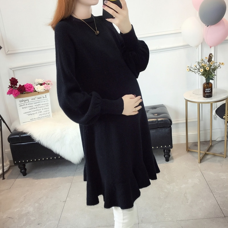 Maternity sweater mother winter thick sweaters loose maternity clothing lotus leaf edge knit long winter pregnancy clothes