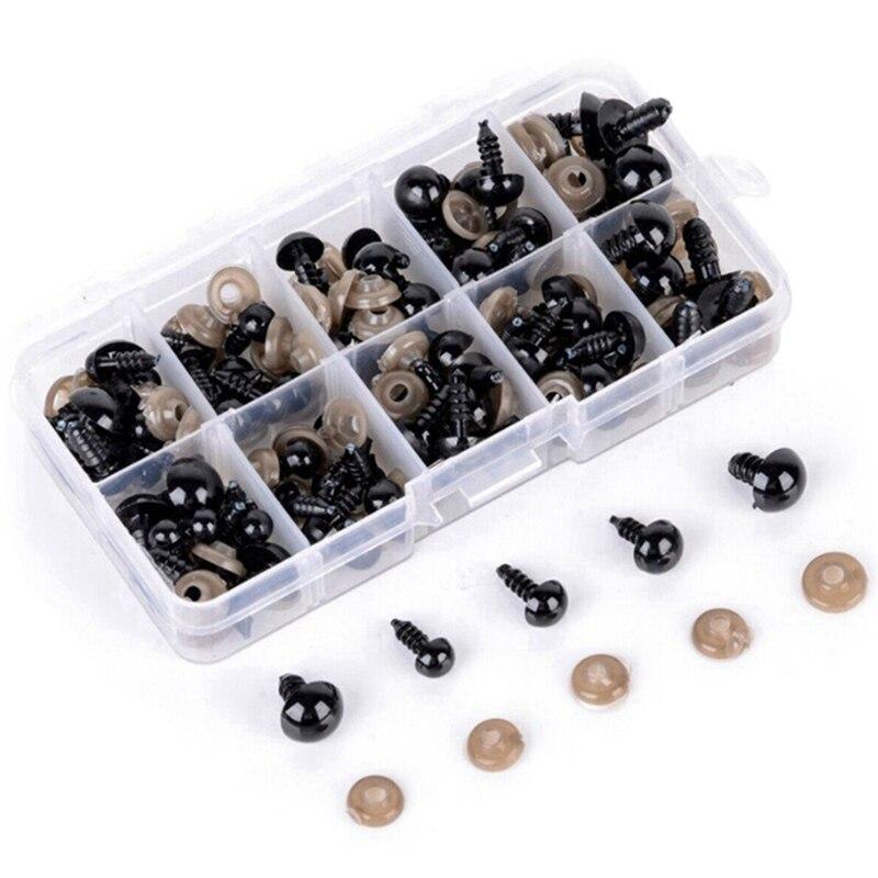 100 pçs feito à mão plástico brinquedos de pelúcia olhos diy nariz acessórios parafuso redondo olhos pretos diy ferramentas 2020
