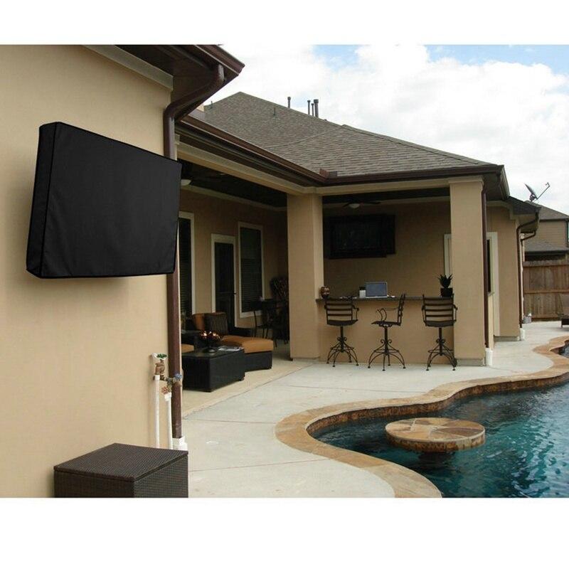 Cubierta de TV al aire libre a prueba de polvo y cubierta de pantalla impermeable TV 30 a 58 pulgadas Oxford negro para la caja de televisión aire acondicionado