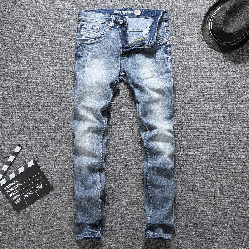 Европейские винтажные модные мужские джинсы в стиле ретро светло-голубые Эластичные зауженные рваные джинсы мужские дизайнерские повседн...