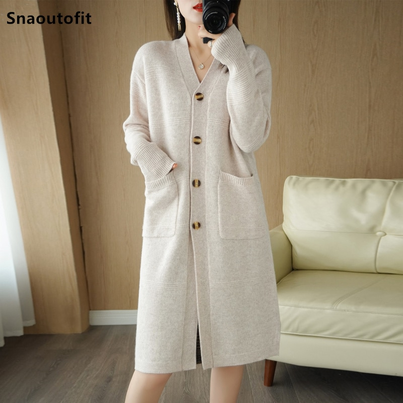 Snaoutofit Autumn Winter Pure Wool Knitted Cardigan Women's V-Neck Mid-Length Large Size Loose Thick Sweater Solid Color Jacket enlarge