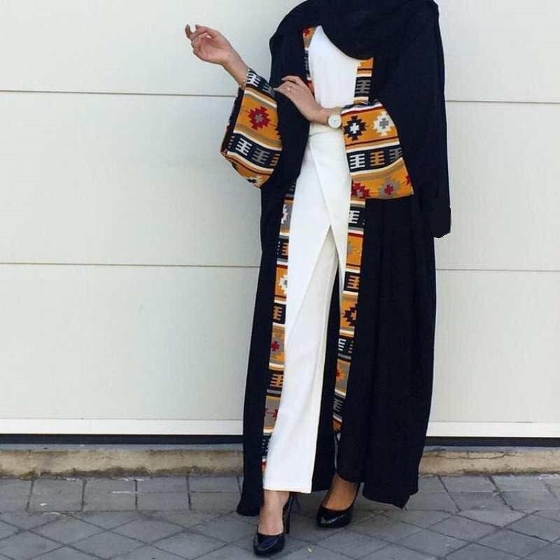 كيمونو عباية بأكمام طويلة للنساء ، كيمونو أسود بنمط دبي ، مفتوح من الأمام ، ألوان متباينة مطبوعة ، كارديجان إسلامي متواضع ، عربي ، تركي