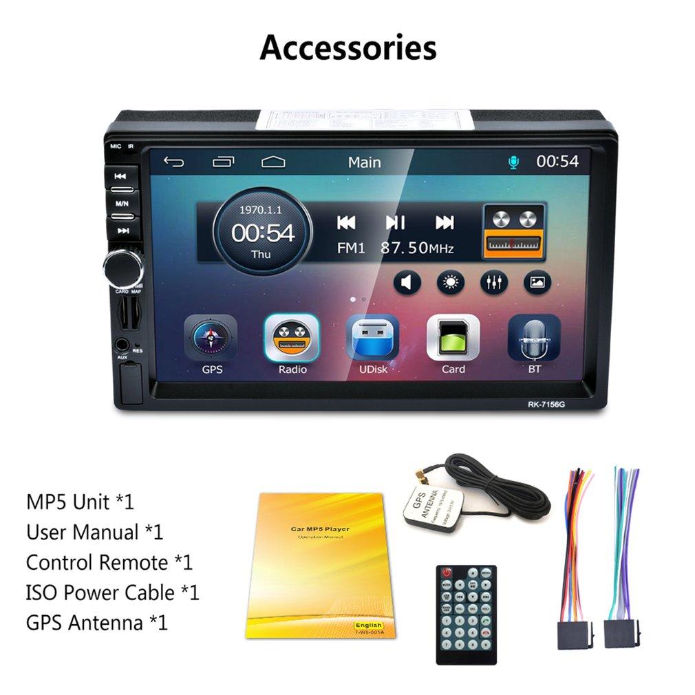 2Din 7inch RK-7156G Car MP5 Bluetooth FM/RDS Car Radio HD Touch Screen GPS Navigation Car Multimedia Player Support USB TF