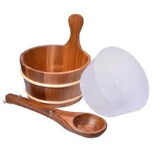 Cuillère en bois avec doublure, seau de Sauna naturel, peau en bois Portable, perte de poids, fournitures doutils de Sauna
