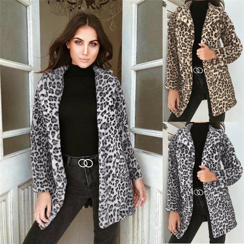 Hirigin casaco feminino de inverno com pele falsa, roupa externa, quente, de lã, estampa animal, roupa urbana, leopardo, outwear, 2019