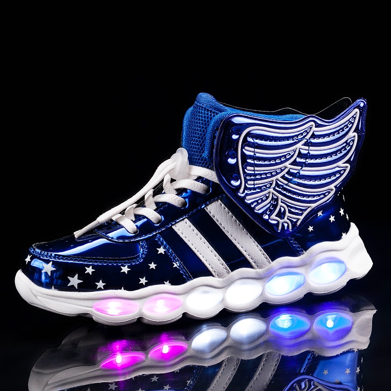 2021 Kids Shoes Children Sneakers Wing USB Charge LED Glowing Girls Shoes Flashing Light Luminous Bo