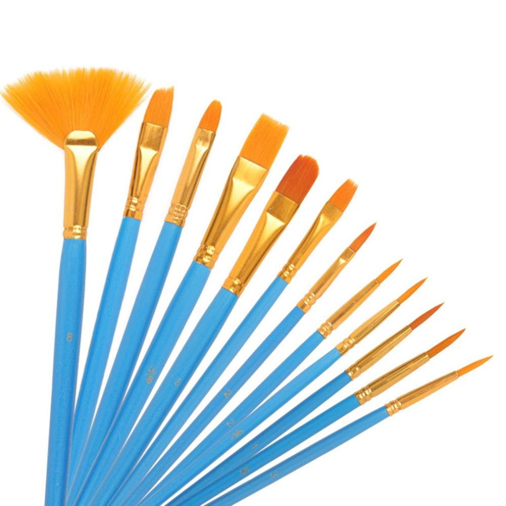 artist paint brushes 12 pieces nylon art paint set with 2 piece art paint tray pale acrylic acid and oil brush watercolor brush 12Pcs/set Nylon Artist Paint Brush Professional Watercolor Acrylic Wooden Handle Painting Brushes Art Supplies Stationery