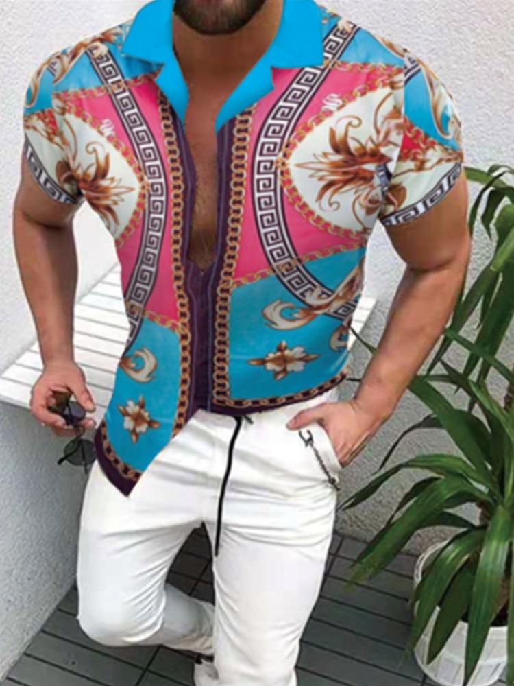 Fashion Mens Hawaiian Shirt Short Sleeve Printed Lapel button Summer Trend Cardigan Casual Clothing 2021