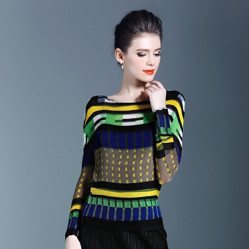 LANMREM 2020 nueva moda de tela escocesa ropa plisada de manga larga de mujer estirable Delgado cuello redondo Camiseta Top Vestido YF389