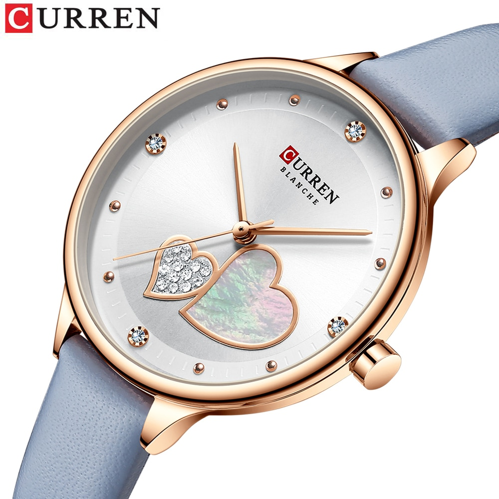 CURREN Women Fashion White Golden Quartz Watch Charming Rhinestone Design Waterproof Leather Band Wristwatch Luxury Casual Clock