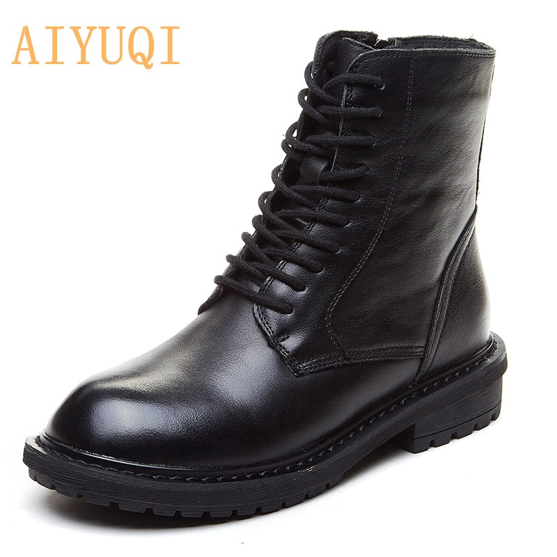 AIYUQI Shoes Boots Women Genuine Leather Ladies Autumn Boots British Style Female Motorcycle Boots L
