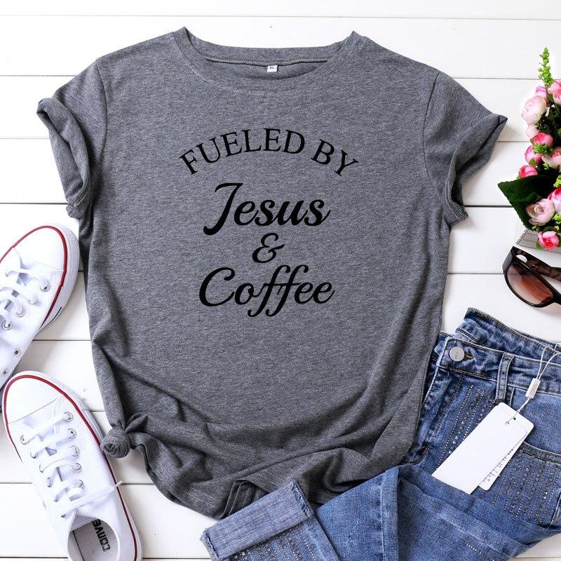 Camiseta de mujer 100% de algodón de talla grande de manga corta con estampado de Jesús y café Vogue para mujer Camiseta cuello redondo harajuk camisetas para mujer