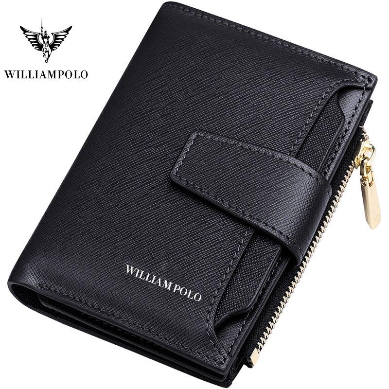 Kurze Brieftasche Männer Echte Leder Casual Kreditkarte Halter Zipper Packet Kompakte Geldbörse Rindsleder Neue design WILLIAMPOLO