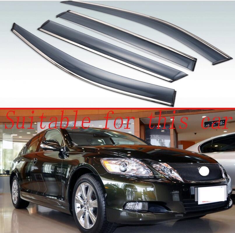 For Lexus GS-clase GS300 GS350 GS430 2006 2007 2008-2011 Plastic Exterior Visor Vent Shades Window Sun Rain Guard Deflector 4pcs