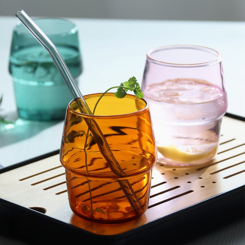 2 uds copa de vidrio coloreada resistente al calor transparente café leche té jugo taza hogar Bar vasos de fiesta vaso de agua 300ml