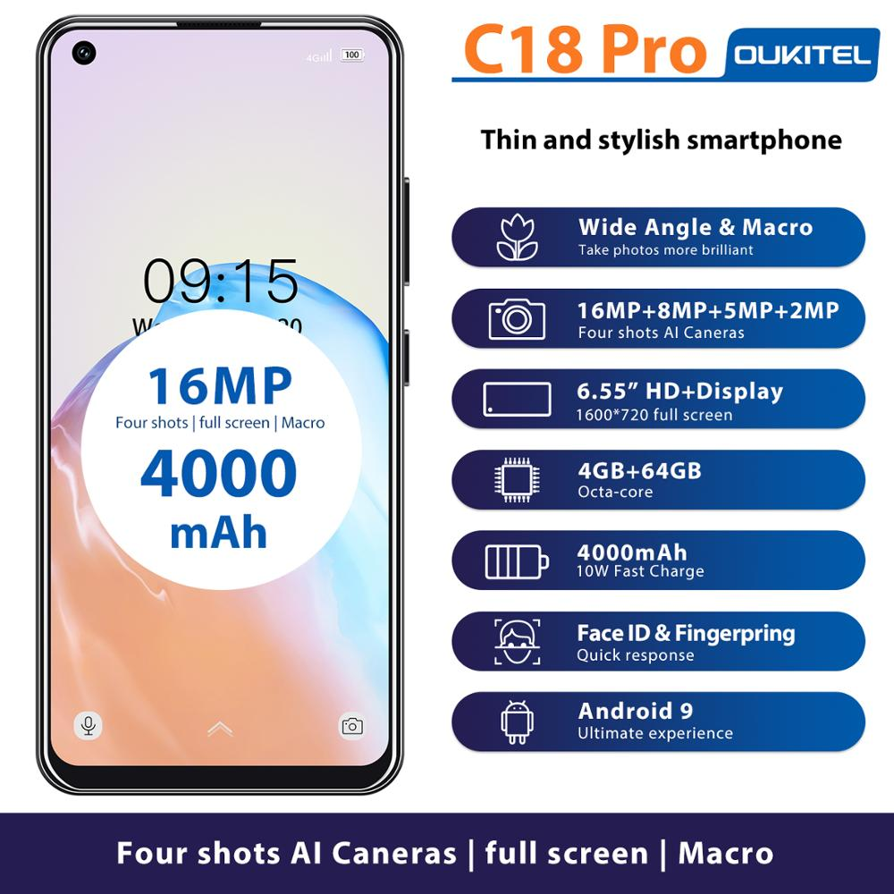 4G LTE Android 9.0 Smartphone OUKITEL C18 Pro 4G RAM 64G ROM Mobile Phon 6.55