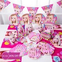 hot 16pcs pink cartoon girl theme 6 persons kids party decoration event party supplies disposable party tableware supplies
