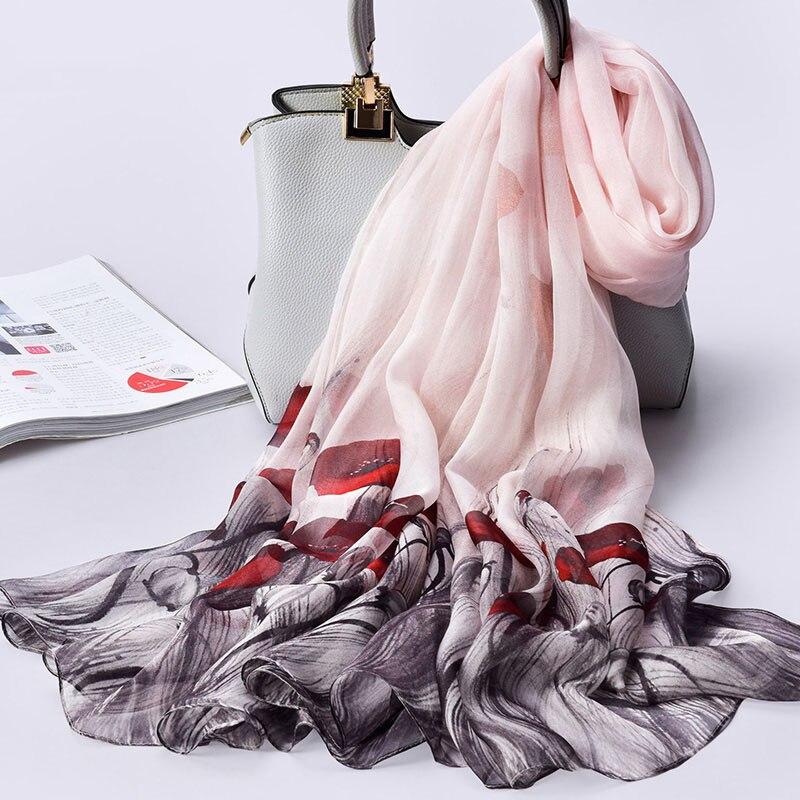100% Pure Silk Chiffon Scarf Women Print Real Natural Long Scarves Thin Breathable Sunscreen Seaside Shawls 175x110cm