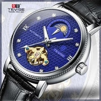 tevise mens watch high grade wrist watch new tourbillon mens moon phase watch fully automatic hollow out mechanical watch