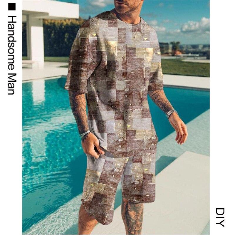 Летняя мужская футболка с 3D-принтом и шорты swirl, мужская спортивная одежда, большой размер, крутая мужская одежда с короткими рукавами и круг...