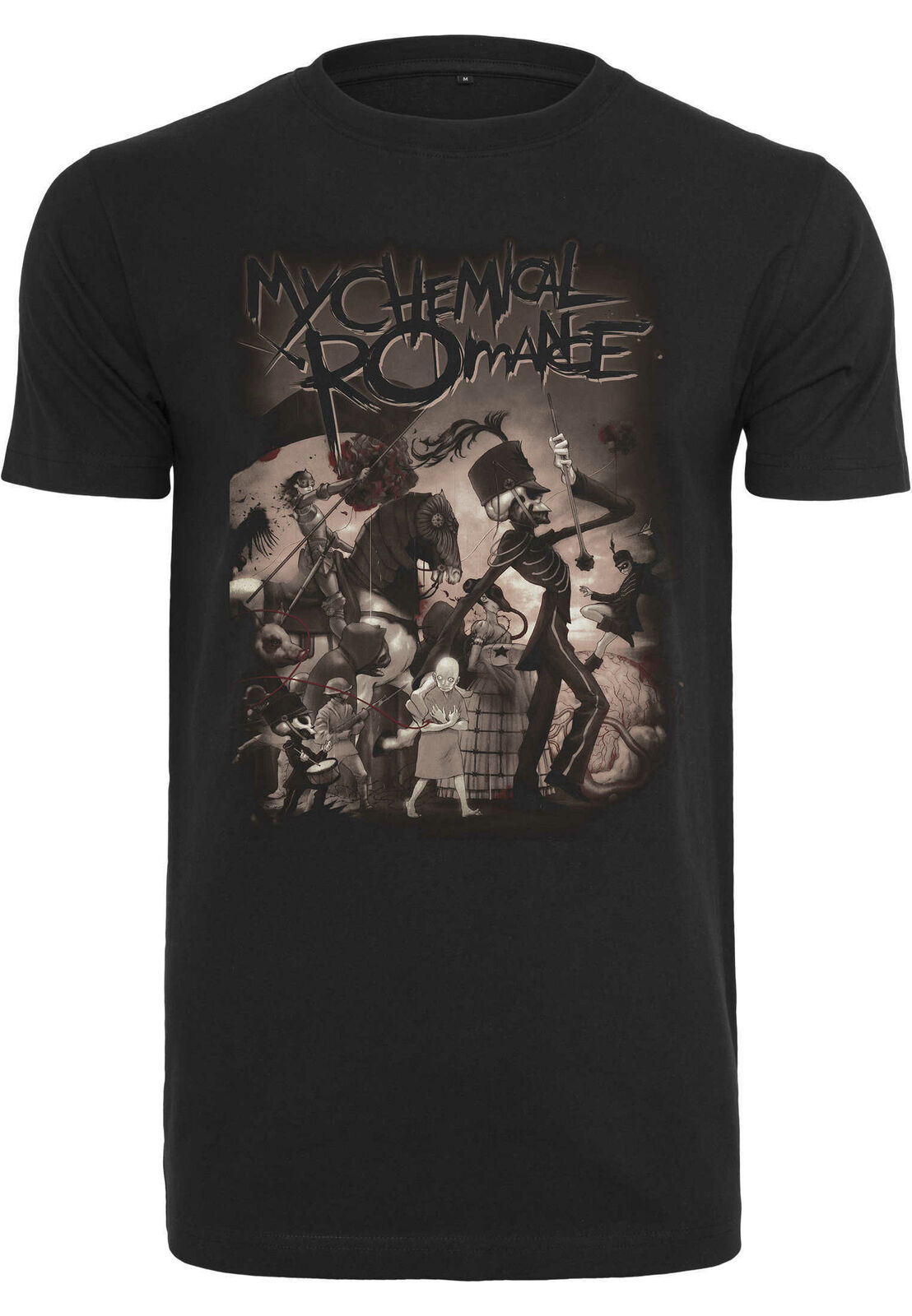 Camiseta con stampa meu romance químico no desfile merchcode moda camisas uomo